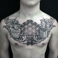 Big black and white Celtic style tattoo on chest