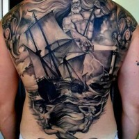 Big black and white nautical tattoo on whole back