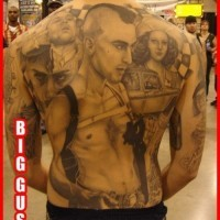 Big black ink famous movie heroes tattoo on whole back