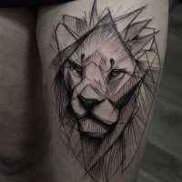 Big black ink thigh tattoo of line style lion