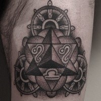 Big black ink thigh tattoo of steering wheels with zodiac symbols