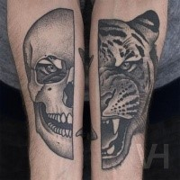 Big black ink tiger and human heads tattoo by Valentin Hirsch