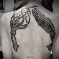 Big black squid and whale tattoo on back