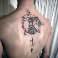 Gran trabajo de blackwork tatuaje de tinta como el hombre de Vitruvio