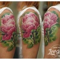 Big colored shoulder tattoo of pink flower