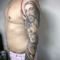 Big colored sleeve religious style colored sleeve tattoo of Jesus with pigeon and rose