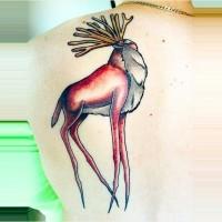 Big colored strange animal tattoo on upper back