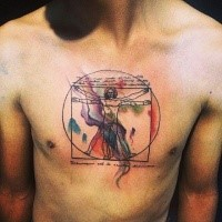 Big colorful chest tattoo of Vitruvian man and lettering