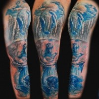 Big colorful sleeve tattoo of mystical woman with waterfall