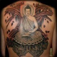 grande colorato buddista medita tatuaggio pieno di schiena