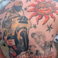 Big coloured on topic bikers tattoo on back