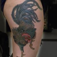 grande carino gallo colorato tatuaggio