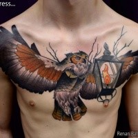 Big detailed beautiful looking chest tattoo of flying owl with old lighter