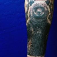 grande divertente inchiostro nero tatuaggio su braccio