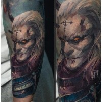 Big illustrative style arm tattoo of fantasy demonic warrior with lettering