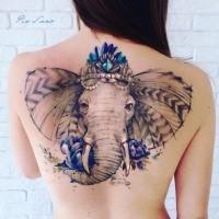 Big illustrative style back tattoo of saint elephant with flowers