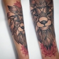 Big linework style arm tattoo of lion with red flowers