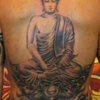 grande buddista medita tatuaggio sulla schiena