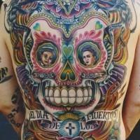 Tatuaggio colorato sulla schiena grande teschio in stile messicano