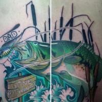 grande multicolore pesce tatuaggio con lettere