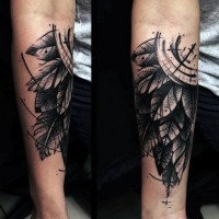 Big nautical black ink compass with feather tattoo on arm