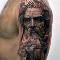 Big nautical themed colored tattoo with ship and Poseidon on half sleeve zone