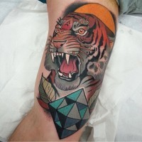 Big old school colored roaring tiger on arm tattoo with geometric figure