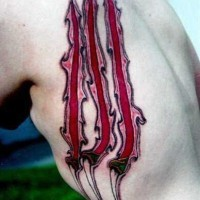 Big realistic looking colored animal scar tattoo on side