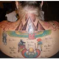 Big simple designed and colored upper back tattoo of various Egypt symbols