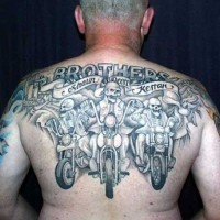 Big skeletons bikers on motorcycles tattoo on back