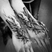 Big sketch style black ink hand tattoo of knives with flowers