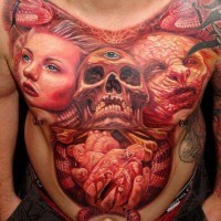 Big skull and demon and woman tattoo on chest and abdomen