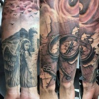 Big very detailed fantasy tattoo with nautical man, key, compass and angel on sleeve