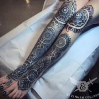 grande eccezionale tatuaggio identico nero e bianco floreale tatuaggio ambedue gambe
