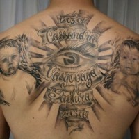 Big very realistic black and white baby memorial tattoo on whole back