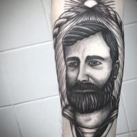 grande realistico ritratto inchiostro nero marinaio stile d'epoca tatuaggio su braccio