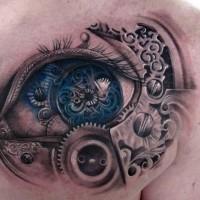 Biomechanical eye tattoo on chest