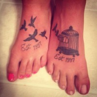 Birds and cage in small friendship tattoos on feet
