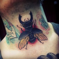 Black-insect-tattoo-on-throat