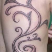 Black and gray big vine tattoo on back