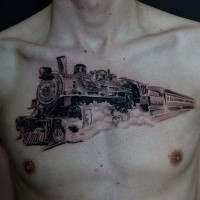 Black and gray large chest tattoo of fast passenger train