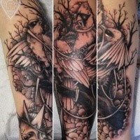 Black and gray style amazing looking arm tattoo of beautiful birds