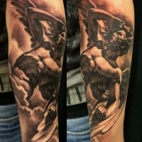 Black and gray style arm tattoo of big stone angel statue