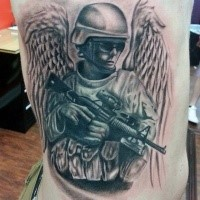 Black and gray style big memorial side tattoo of American soldier angel