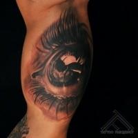Schwarzer und grauer Stil farbiges Auge Tattoo des menschlichen Auges
