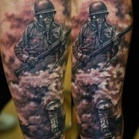 Black and gray style colored forearm tattoo of vintage warrior in gas mask