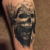 Black and gray style detailed arm tattoo of monster mummy