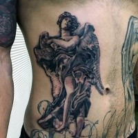 Black and gray style detailed looking side tattoo of angel statue