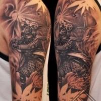 Black and gray style detailed shoulder tattoo of samurai warrior and flowers
