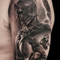 Black and gray style detailed shoulder tattoo of antic warrior